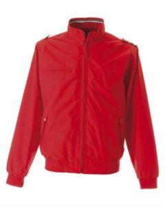 Giubbino nylon taslon con profilo tricolore, una tasca sul petto con zip, due tasche esterne con zip, una tasca interna, polsini e fascia in maglia elasticizzata, colore rosso