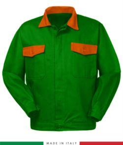 Giubbino da lavoro bicolore, Made in Italy. Due tasche sul petto. Possibilità di produzione personalizzata. Colore Verde Brillante/Arancione