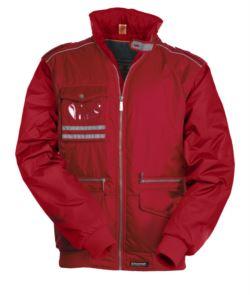 Giubbotto multitasche impermeabile nylon, cappuccio richiudibile, piping sulle spalle e due fasce riflettenti sul taschino con portabadge di colore rosso
