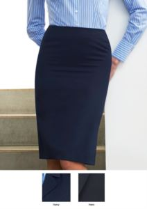 Gonna modello classico colore navy e nero, 100% poliestere. Ideale per  receptionist, hostess, hotellerie.