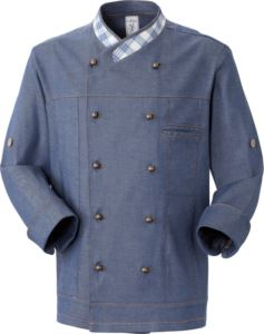 Chef jacket, double breasted front button closure, left side pocket, three-quarter sleeve, color denim