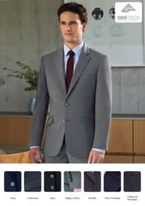 Tailor-made jacket in stain-resistant polyester fabric and wool. Ideal for uniforms of porter, hotel, receptionist. Wholesale only. Get a free quote.