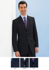 Elegant man jacket for elegant work uniform. Polyester and wool fabric, crease resistant. 3button closure. Two side pockets. Get a free quote.