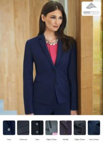 Elegant slim fit women jacket, fabric with stain resistant properties.