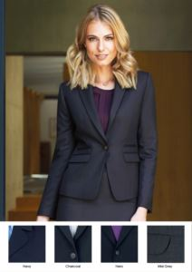 Women's jacket with one button closure in polyester and wool with crease resistant fabric. Use for promoters, receptionists, hoteliers.