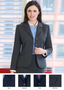 Elegant tailored women's jacket in polyester and wool.