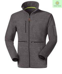 Long zip fleece with knitted fleece fabric, with one zipped chest pocket, contrasting zipper. Colour: dark grey