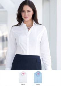 Elegant semi-fit women's shirt, 3-button cuff, 100% cotton. Easy iron fabric. Ideal for receptionists, hostesses, hoteliers.