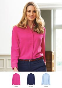 Elegant shirt 100% polyester with covered buttons.  Ideal for receptionists, hostesses, hoteliers. Request a free quote