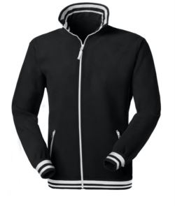 Long zip fleece in two colours, collar, waist, cuffs with contrasting stripes; colour: black/white