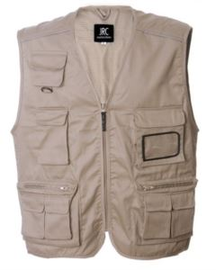 summer work vest with beige badge holder with nine pockets and reflective piping