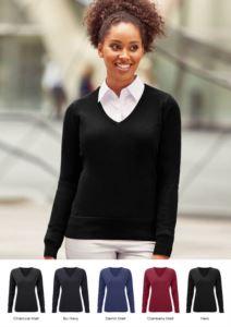Maglione donna con scollo a V, costine sul collo e polsini, senza cuciture, tessuto cotone e acrilico