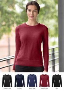 Maglione donna girocollo, maniche lunghe, costine sui bordi inferiori e polsini, tessuto cotone e acrilico