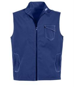 blue summer vest with 5 pockets and badge holder