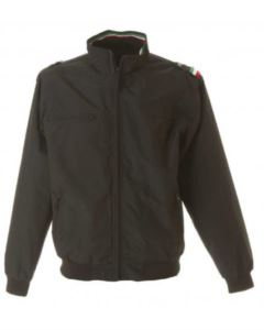 Nylon taslon jacket with three-coloured profile, one chest pocket with zip, two external pockets with zip, one internal pocket, elasticated knit cuffs and band, color black