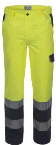 Pantalone alta visibilità bicolore con doppia banda su fondo gamba, certificata EN 20471, colore giallo/blu