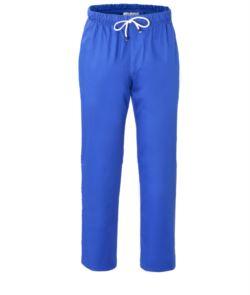 Pantaloni da cuoco, elastico sulla vita con laccio, colore azzurro royal
