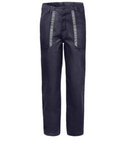 Pantaloni da lavoro con dettagli bicolore in contrasto sulle tasche. Colore: Blu/Grigio