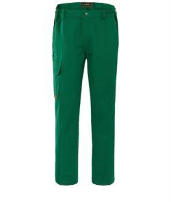 Pantalone da lavoro ignifugo, chiusura con bottoni, due tasche anteriori e una tasca posteriore, colore verde. Certificato EN 11611, EN 11612:2009
