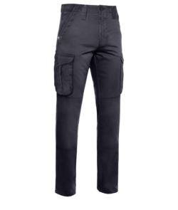 Pantalone da lavoro multitasche in cotone di colore blu