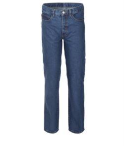 Pantaloni da lavoro in jeans 100% Cotone, colore blu denim