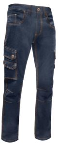 Pantaloni in jeans multitasche, colore Blu Denim