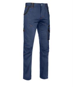 Pantalone multitasche da lavoro con dettagli colorati in contrasto, colore blu