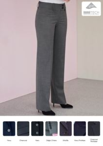 Pantaloni eleganti da donna a taglio morbido in tessuto antimacchia, in poliestere e lana. Ideali per  receptionist, hostess, hotellerie. Vendita all'ingrosso.