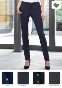 Pantaloni da donna eleganti in poliestere e viscosa, in tessuto antimacchia. Ideali per  receptionist, hostess, hotellerie. Vendita all'ingrosso.