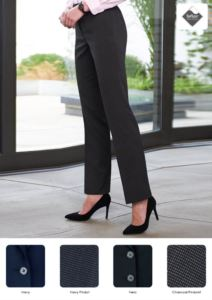 Pantalone elegante da donna in poliestere, viscosa ed elastane, tessuto in teflon antimacchia.  Ideale per  receptionist, hostess, hotellerie.