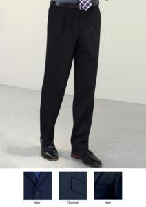 Pantalone elegante uomo modello dal taglio classico, due tasche a filetto, facile vestibilità, in tessuto poliestere e viscosa. Contattaci per un preventivo gratuito.