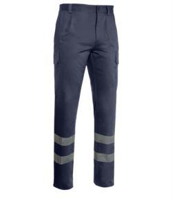 Pantaloni da lavoro multitasche bande rinfrangenti blu, abiti da lavoro serigrafia,pantaloni di sicurezza
