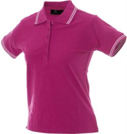 Polo manica corta in jersey donna, cinque bottoni, colletto e fondo manica in rib con doppio piping, colore fucsia