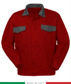 Two tone work jacket, Made in Italy. Two chest pockets. Possibility of customization. Color red/grey