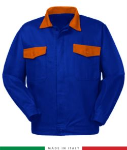 Two tone work jacket, Made in Italy. Two chest pockets. Possibility of customization. Color royal blue/ orange