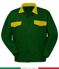 Two tone work jacket, Made in Italy. Two chest pockets. Possibility of customization. Color bottle green / yellow