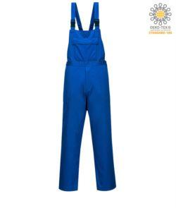 Salopette antincendio, tascone centrale, bretelle regolabili, certificata EN 13034, colore azzurro royal