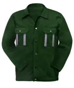 Two-tone multi pocket work jacket with reflective piping on shoulders and sleeves. Colour green
