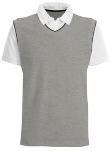 Short sleeve polo with contrasting collar and sleeves, contrasting piping. Colour Grey Melange/white