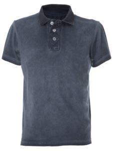 Short sleeved vintage polo shirt, cold dyed, vintage look, creased slit, Blue color