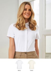 Elegant shirt in polyester and elastane. Clothing for receptionists, hostesses, hoteliers. Get a free quote.