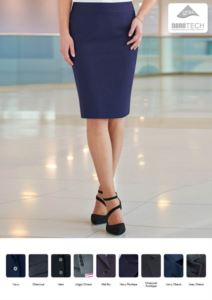 Skirt in polyester and wool, in stain-resistant fabric. Ideal for receptionists, hostesses, hoteliers.