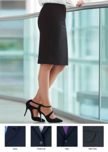 Elegant polyester and wool uniform skirt, available in black and blue. Anti-fold fabric.