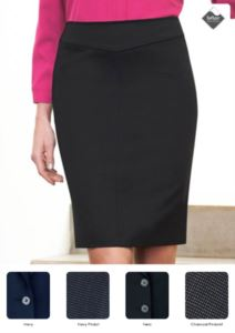 Elegant skirt in polyester and viscose fabric, with stain-resistant Teflon fabric. Ideal for receptionists, hostesses, hoteliers.