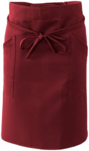 Cook apron with double pocket, fastened with a lace at the waist. Color:burgundy