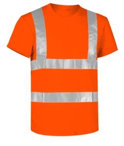 T-shirt alta visibilità con bande riflettenti, certificata EN 20471, colore arancione
