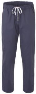 Chef trousers, closure with fabric laces, two back pockets, Colour grey