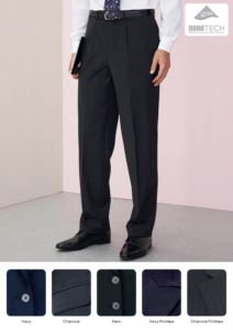 Elegant slim fit men trousers, two welt pockets, wool and polyester fabric with crease resistant fabric. Contact us for a free quote.