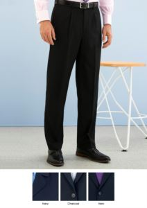 Elegant men trousers, classic cut, two welt pockets, in polyester fabric and wool, anti-fold fabric. Contact us for a free quote.