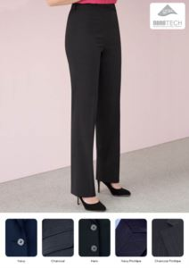 Elegant straight-cut trousers in wool and polyester fabric with stain-resistant treatment. Contact us for a free quote.